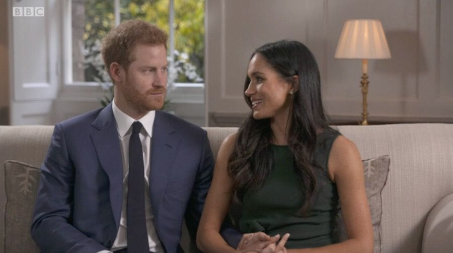 Meghan Markle wearing the green bow dress by PAROSH during her engagement interview
