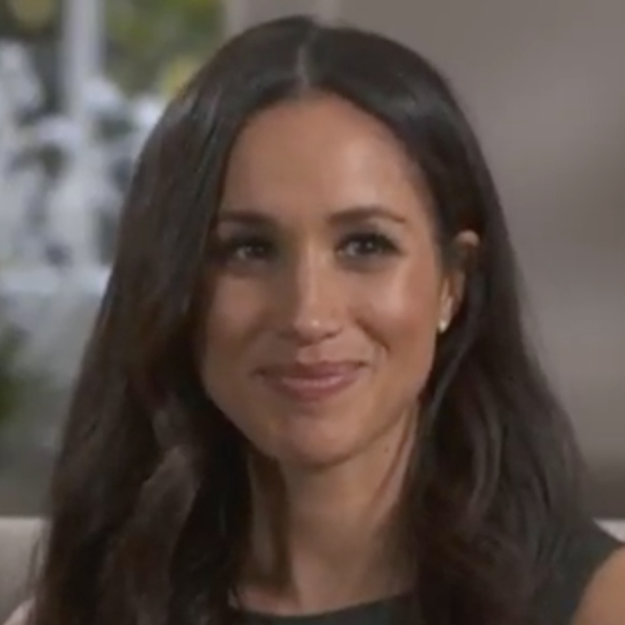 Meghan Markle wearing her Birks earrings during her engagement interview