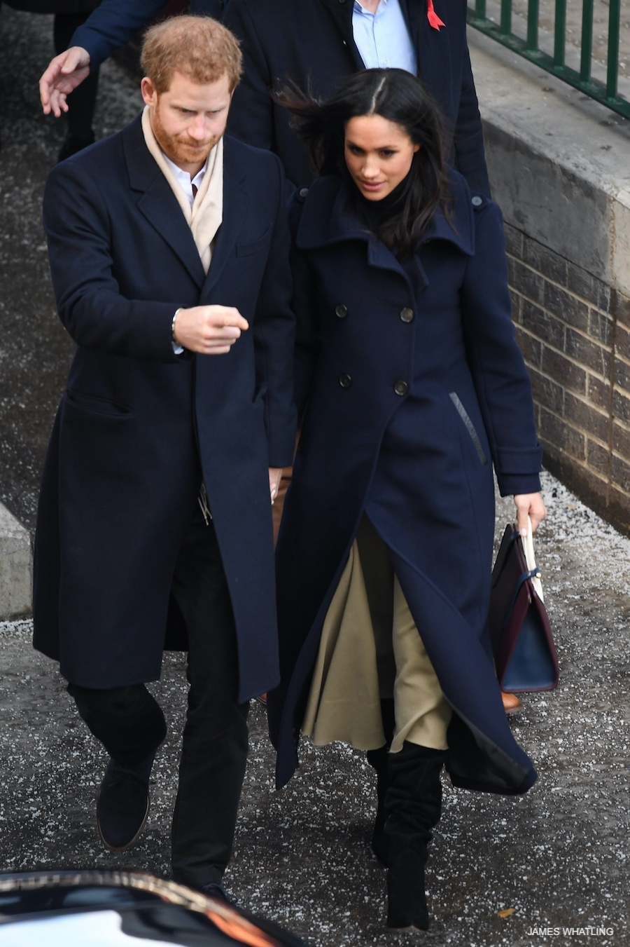 Meghan Markle in her Mackage Elodie coat in navy blue