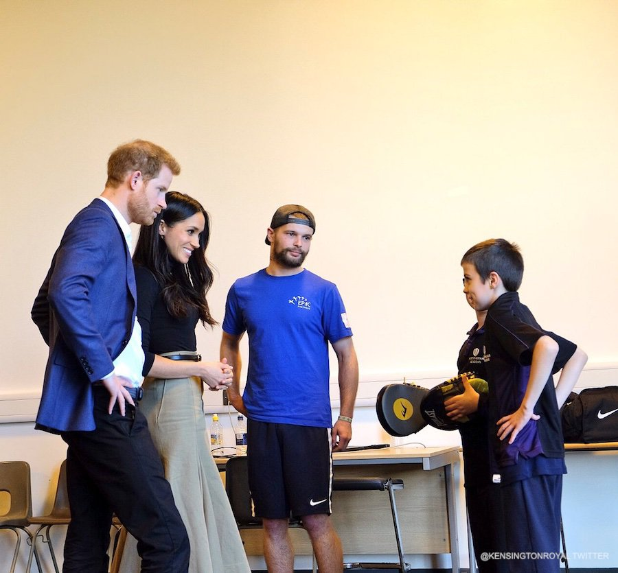 Meghan and Harry meeting with children taking part in kickboxing lessons