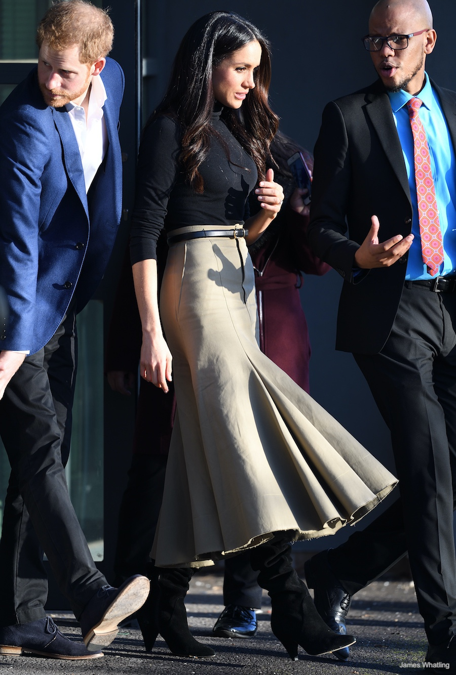 Meghan Markle wearing her Joseph skirt in Nottingham