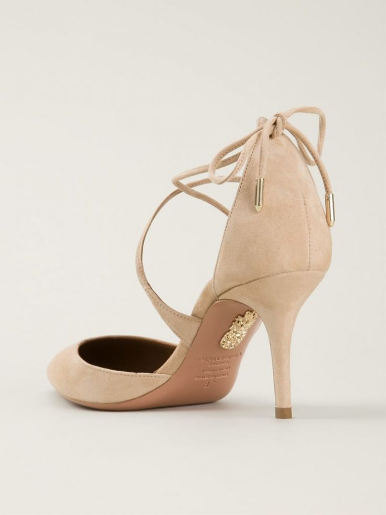 Aquazzura Matilde Pumps in nude suede worn by Meghan Markle