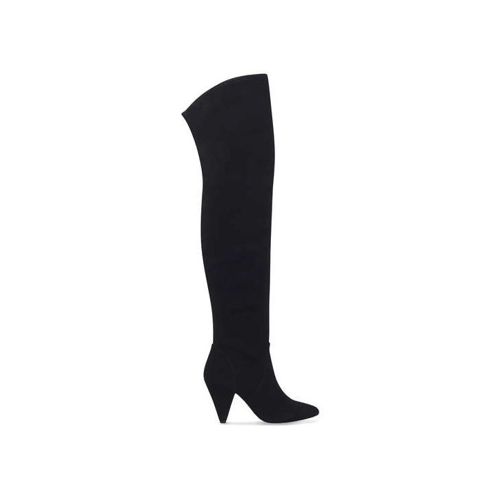 Meghan Markle wore the black suede Kurt Geiger Violet Over the Knee Boots