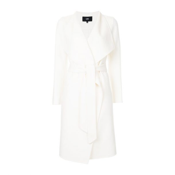 Line The Label Meghan Coat (previously called the Mara Coat) in white. Worn by Meghan Markle for her engagement annoucement photo