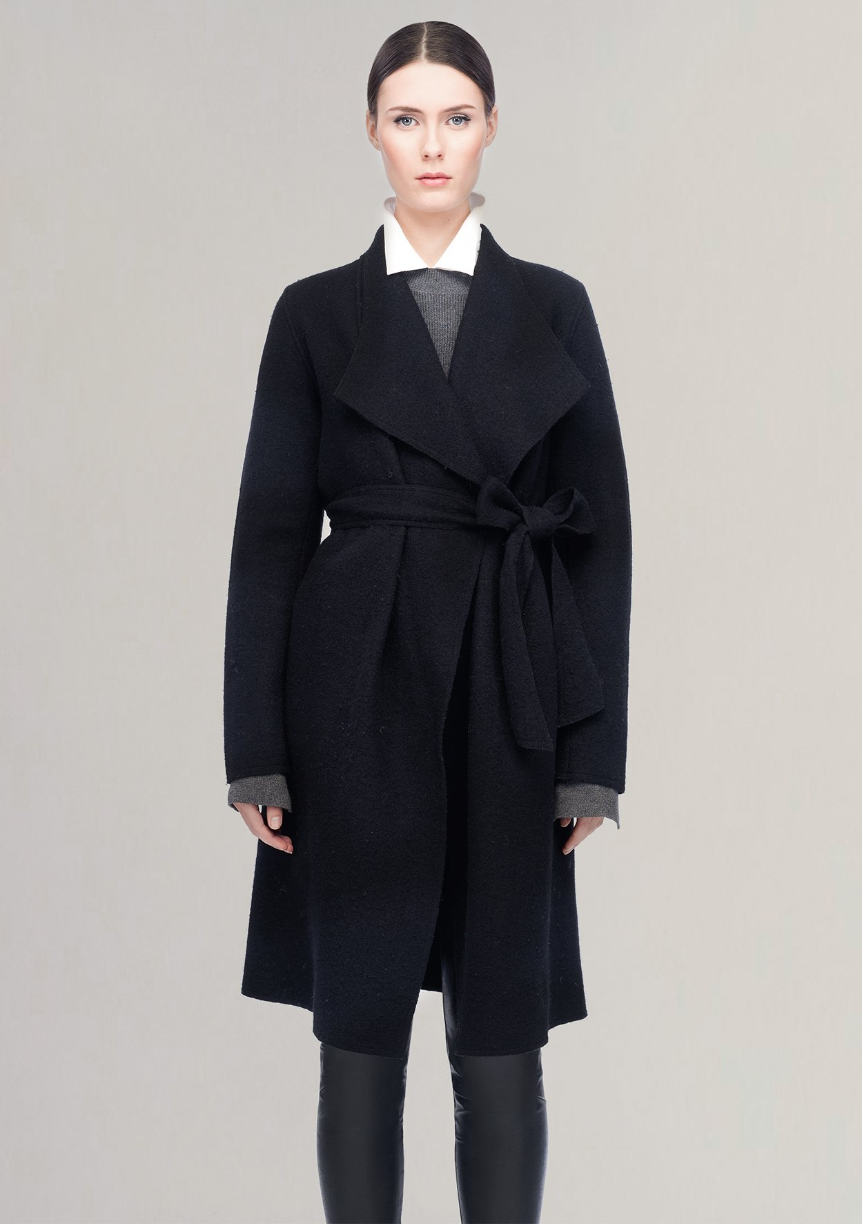 Line the Label Meghan Wrap Coat in Black