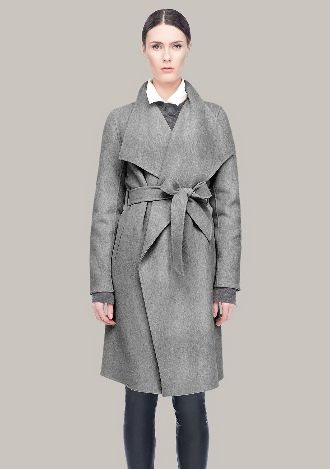 Line the Label Meghan Wrap Coat in Grey