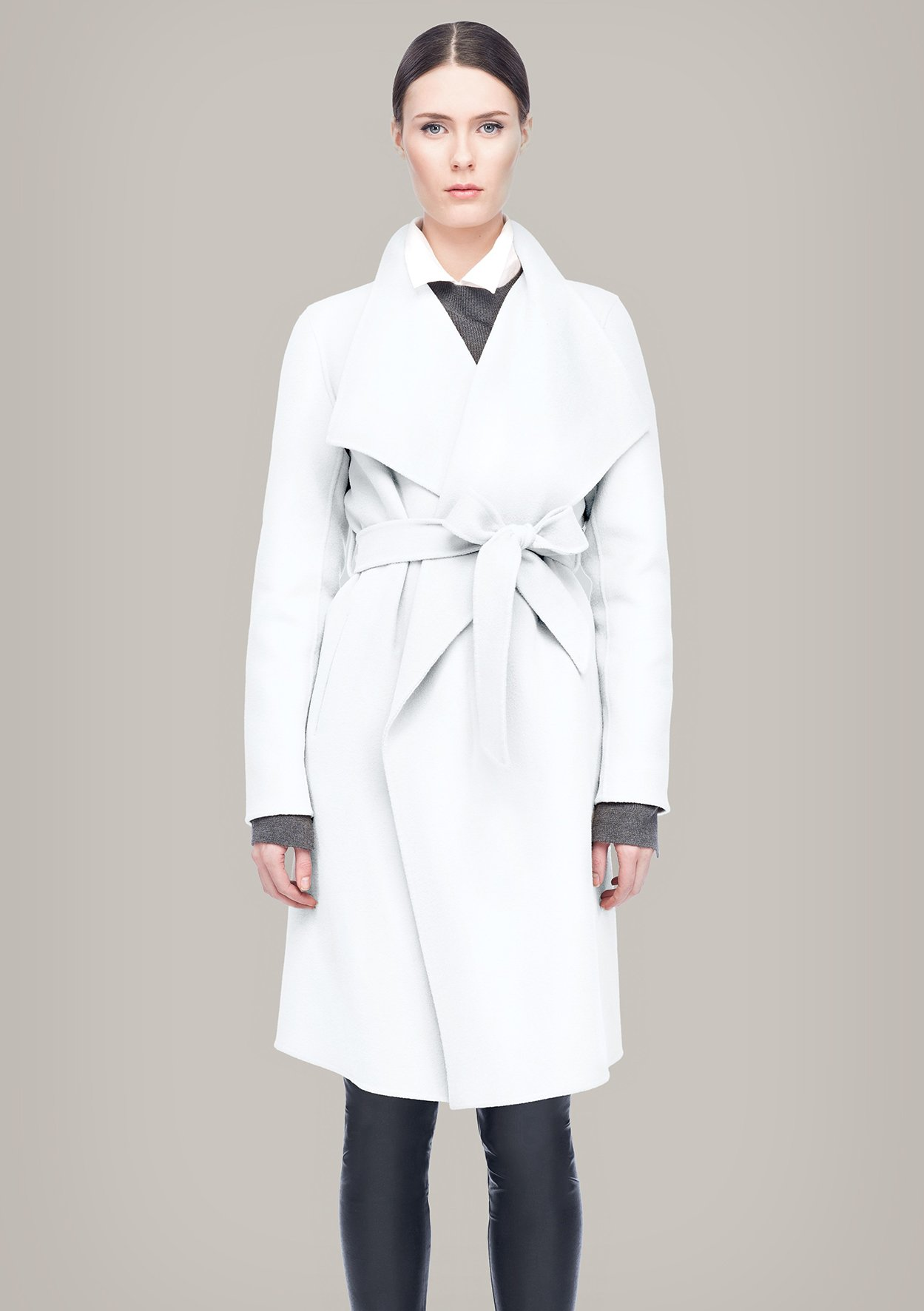 Line the Label Meghan Wrap Coat in White