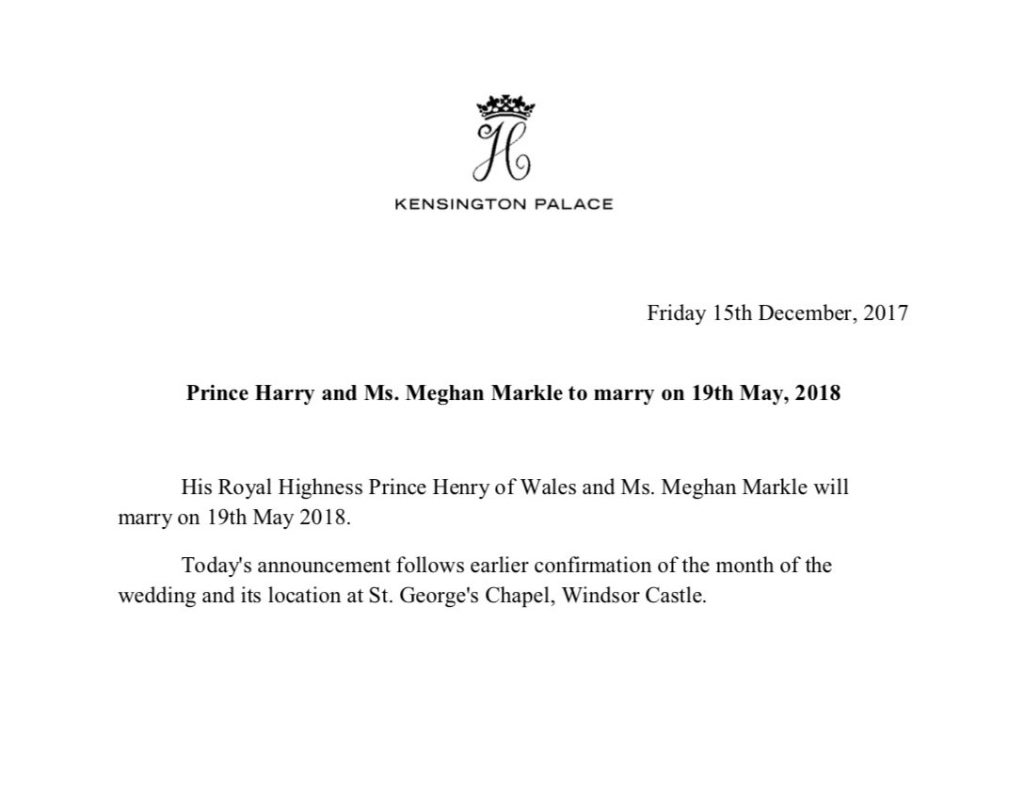 Prince Harry and Meghans wedding date