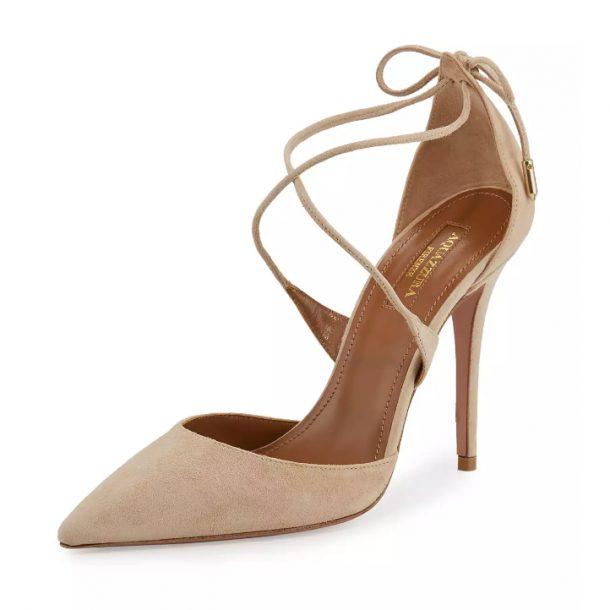 Meghan Markle's nude suede Aquazzura heels
