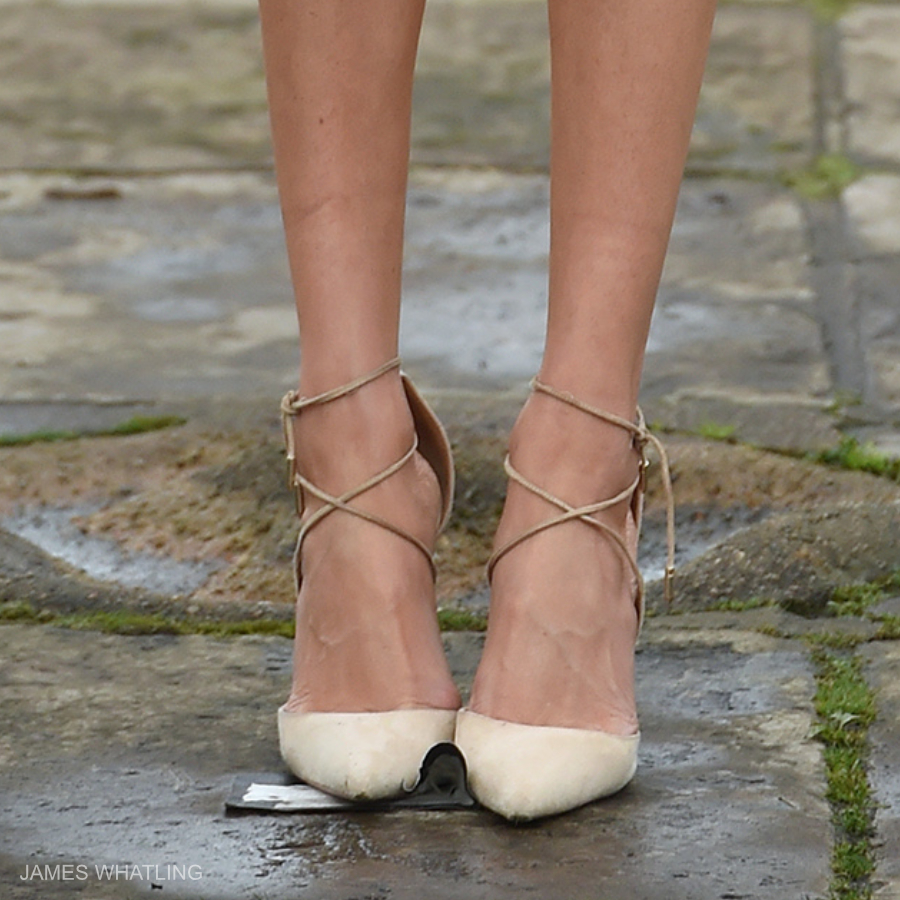 Meghan Markle's Aquazzura nude suede heels from the engagement annoucement photos
