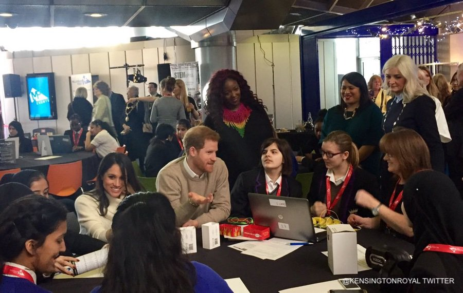 "Meghan and Harry with the ""Stemettes"" in Birmingham"