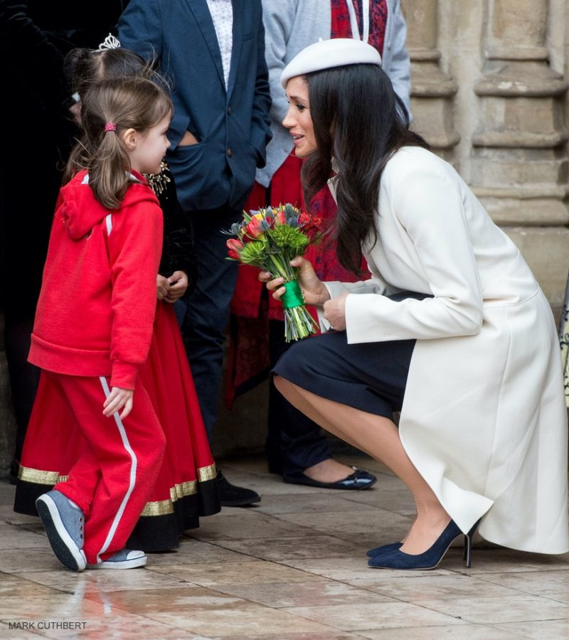 Meghan Markle meets a little girl after the commonwealth service
