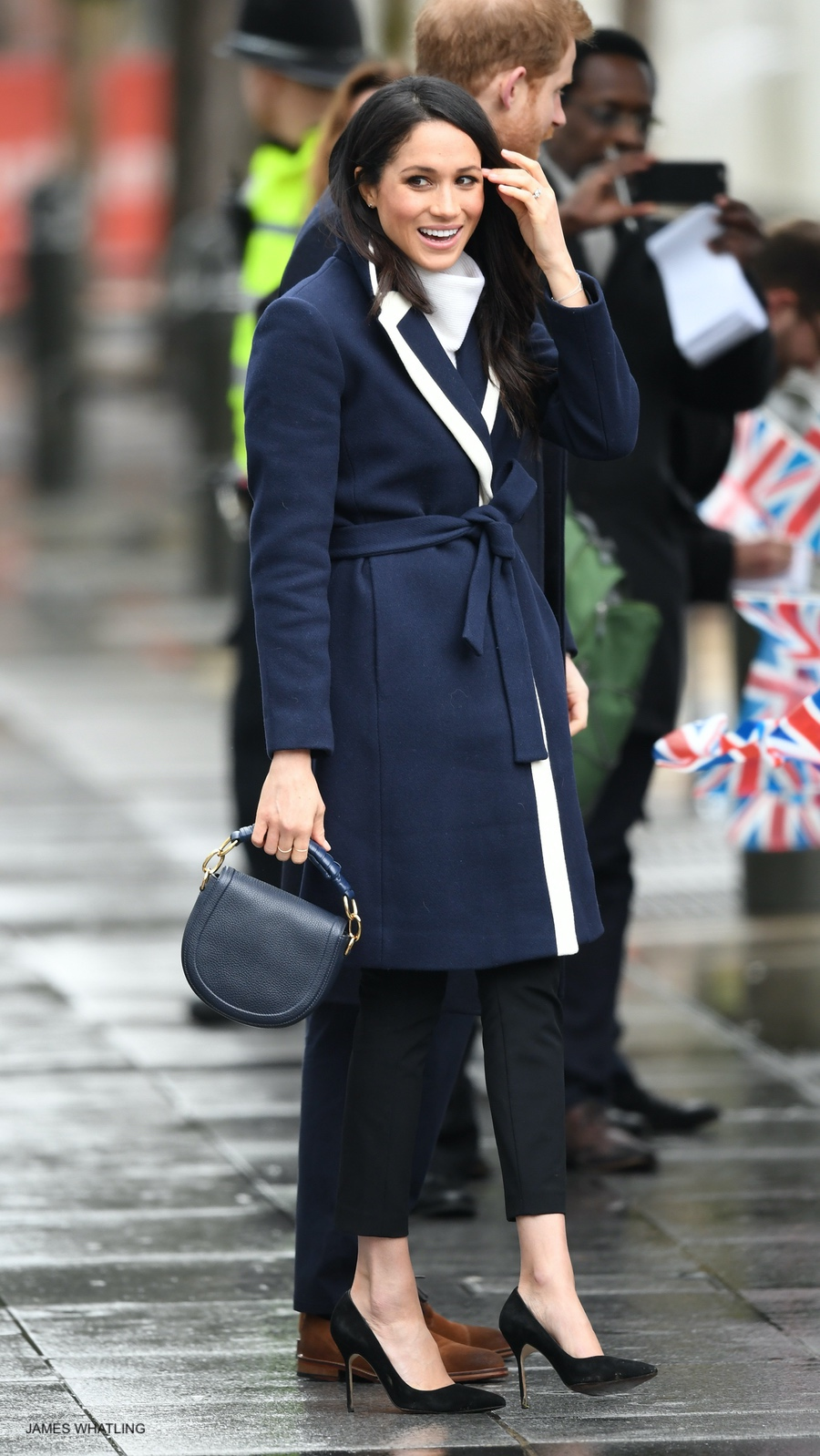 Meghan Markle visits Birmingham wearing a blue coat by J.Crew
