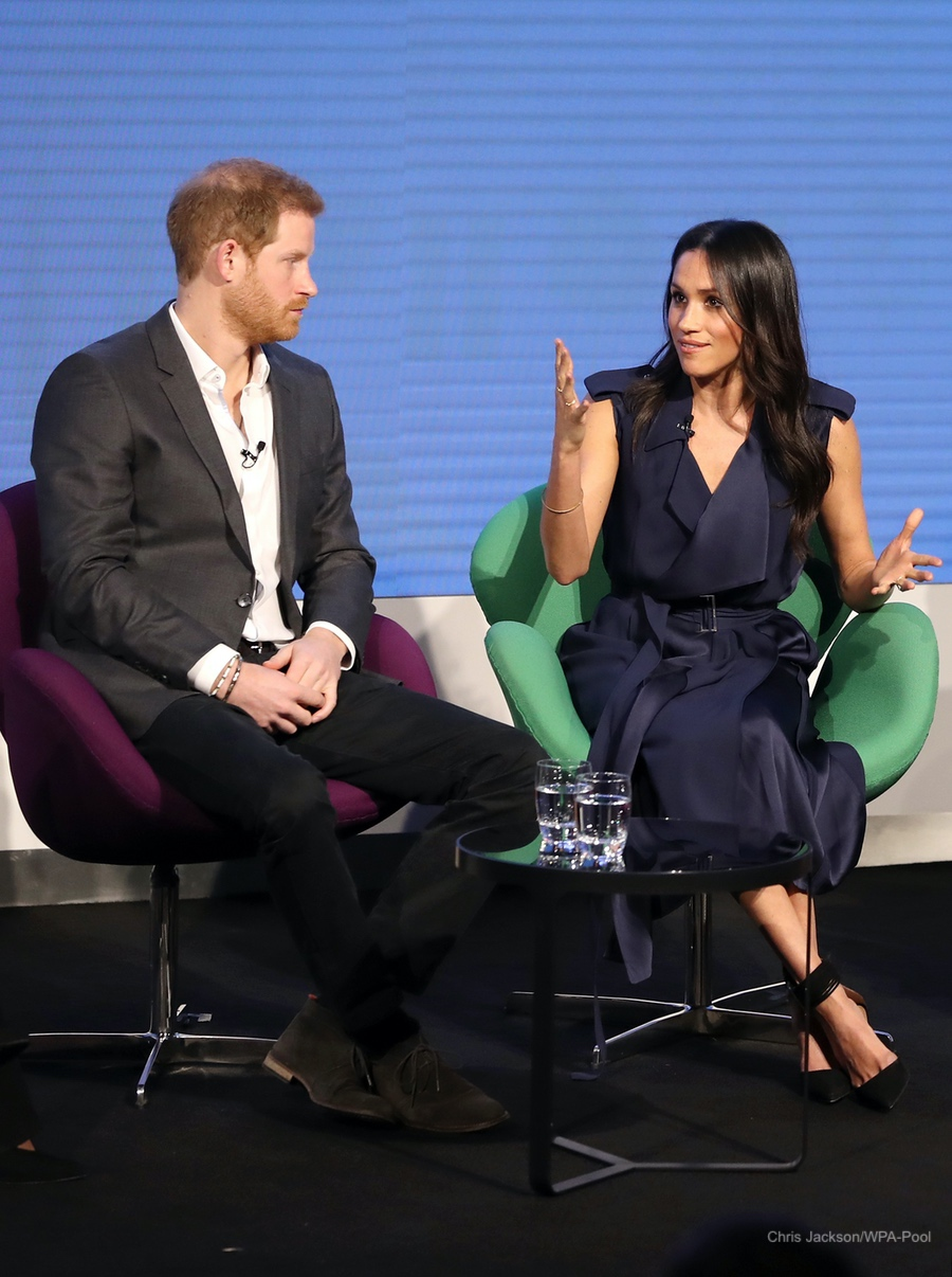 Meghan Markle wore a Jason Wu dress in navy blue to the Royal Foundation Forum in Feb 2018