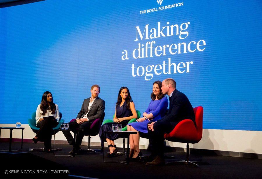 Meghan Markle with Prince Harry, Prince William and Kate Middleton at the Royal Foundation Forum