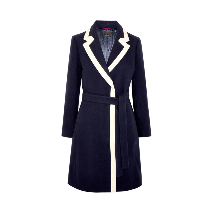 J Crew Two Tone Blue and White Wool Coat worn by Meghan Markle