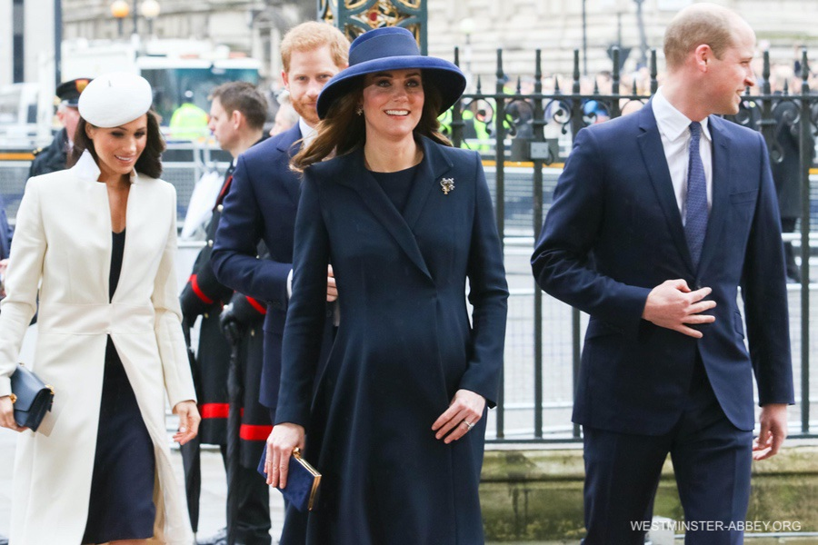 Meghan and Harry follow the Duke and Duchess of Cambridge into Westminster Abbey