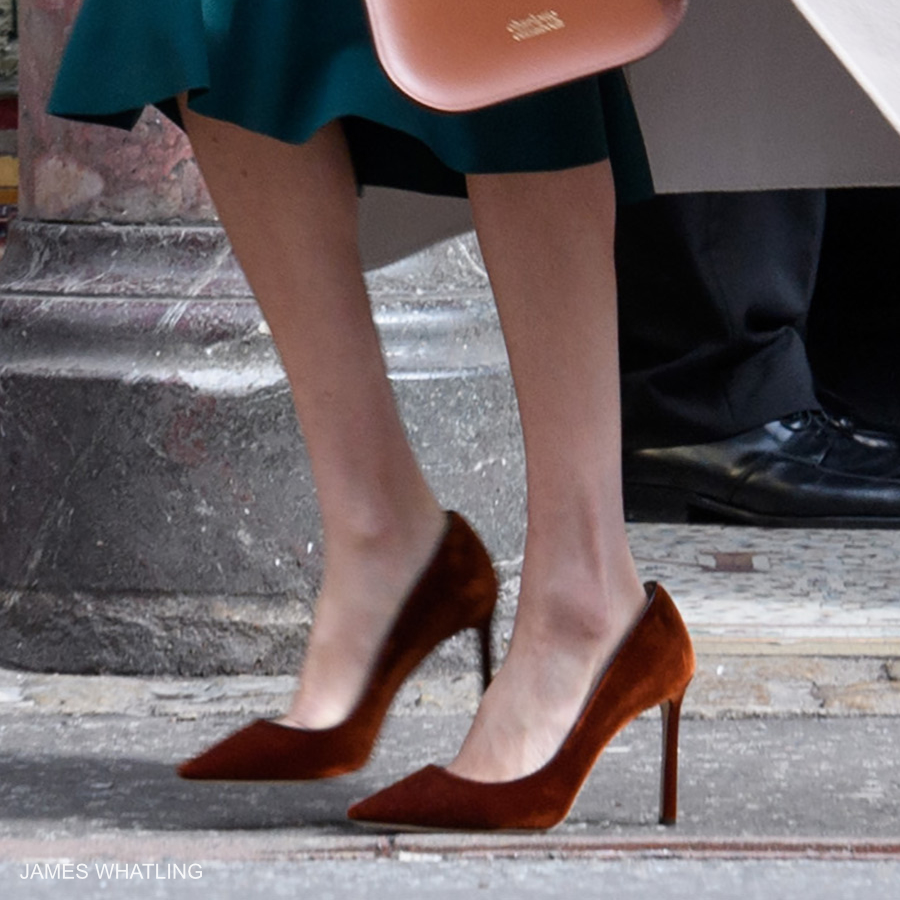 Meghan Markle wearing Jimmy Choo Romy shoes