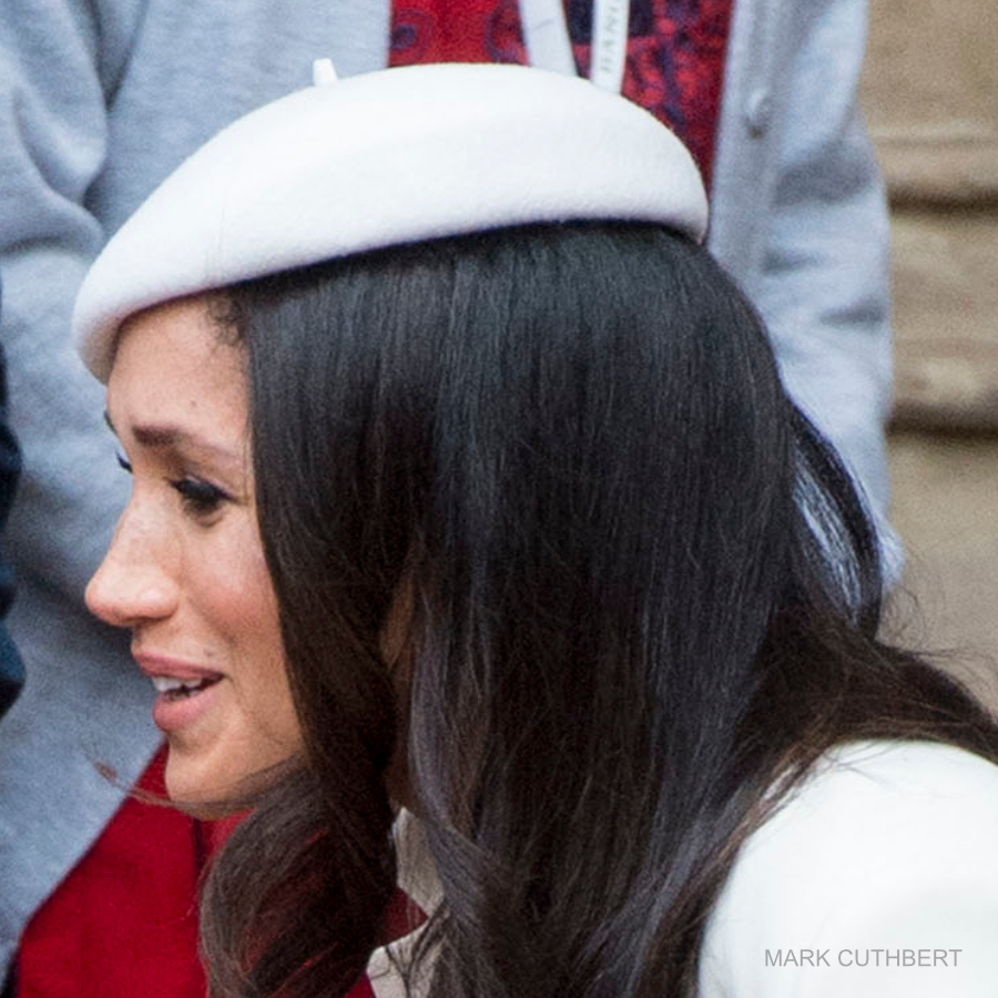 Meghan Markle's white hat by Stephen Jones.