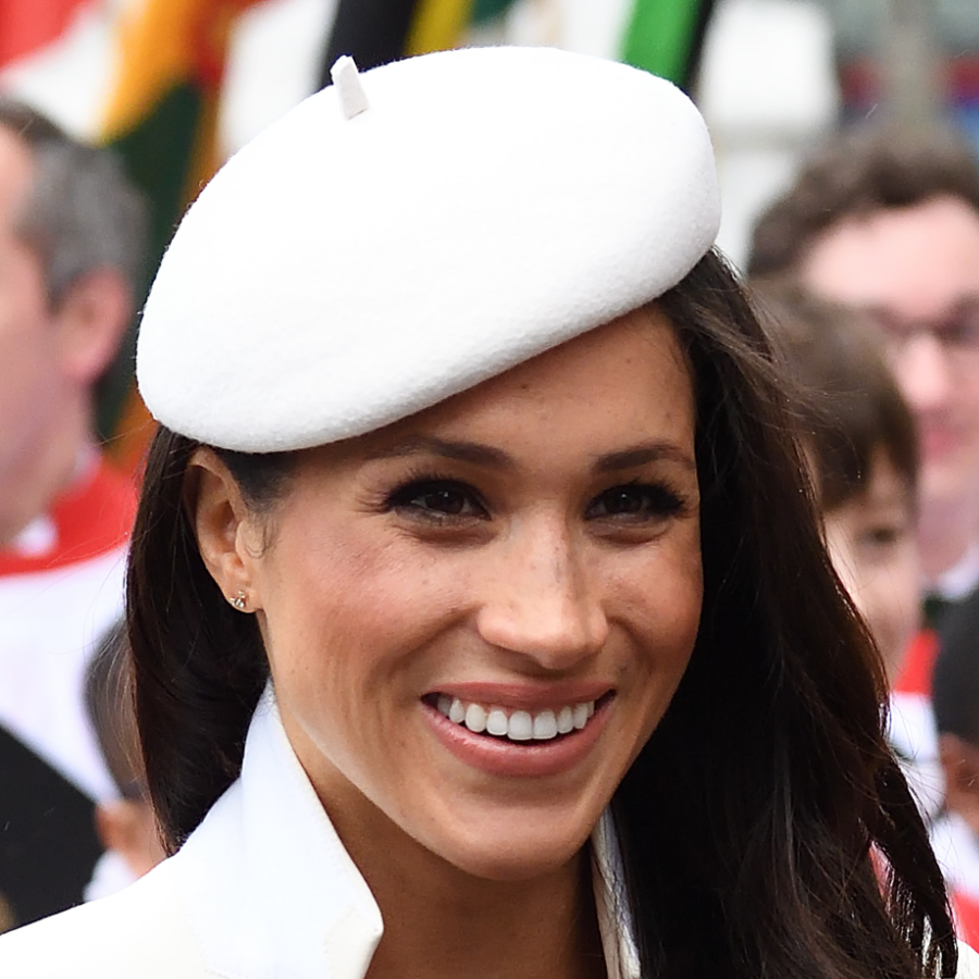 Meghan Markle's white hat by Stephen Jones