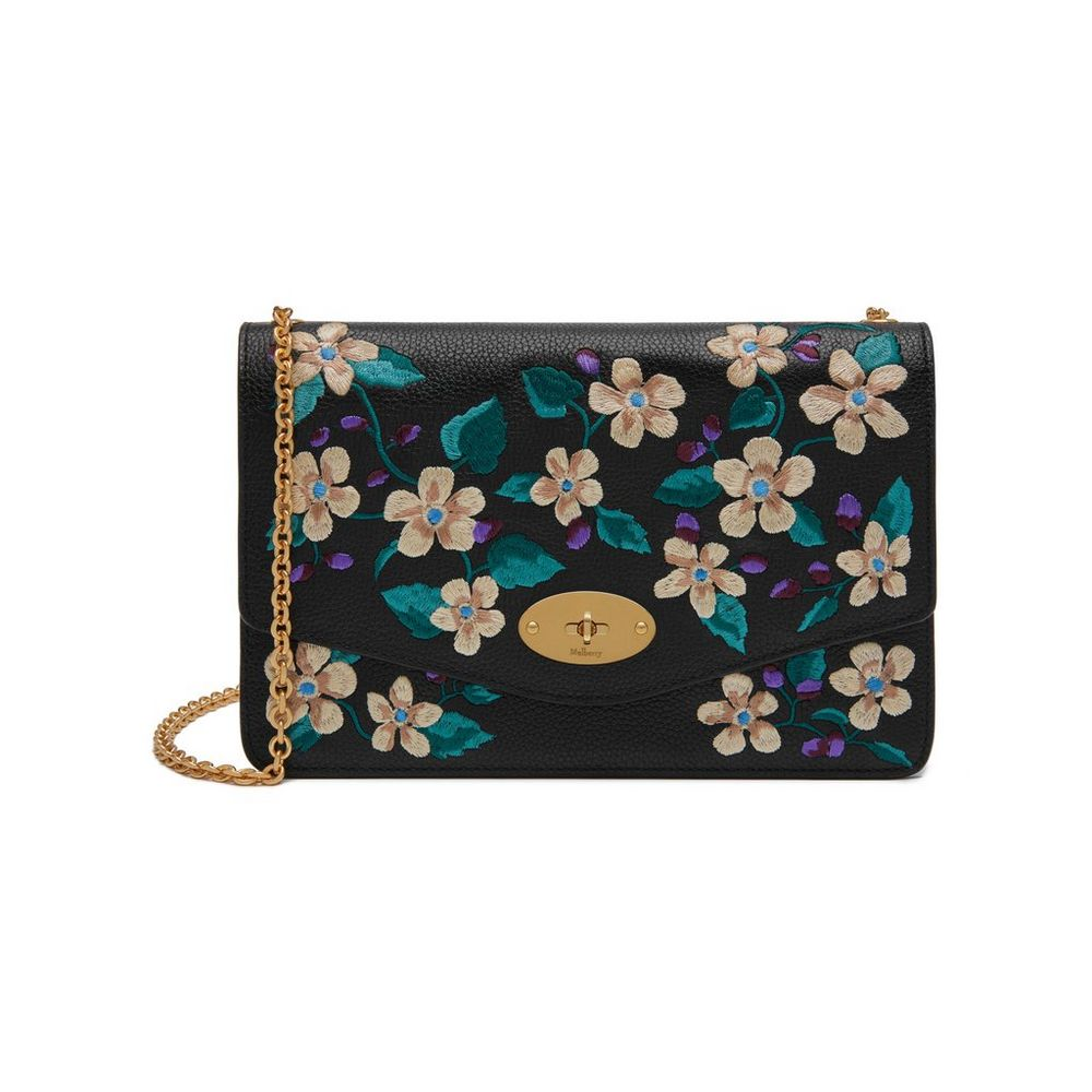 Mulberry Darley bag in black with embroidery