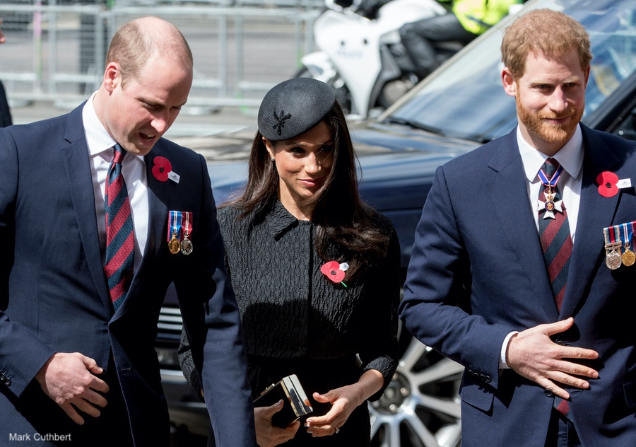 Meghan, Harry and William attend Westminster Abbey's ANZAC DAY service