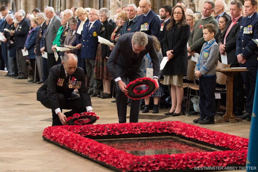 Wreaths being laid at the grave of the unknown warrier in Westminster Abbey