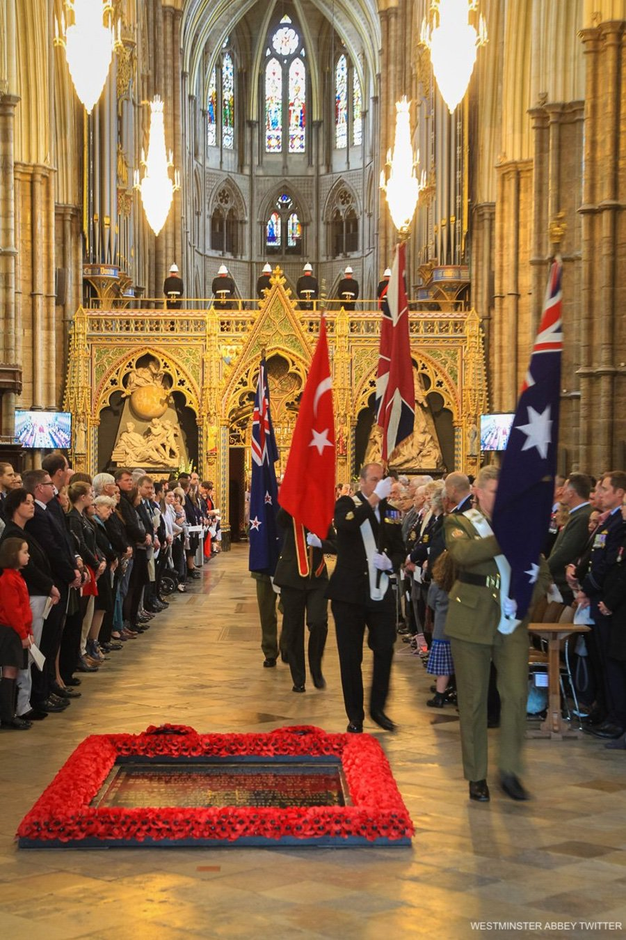 The flag procession on Anzac Day at Westminster Abbey