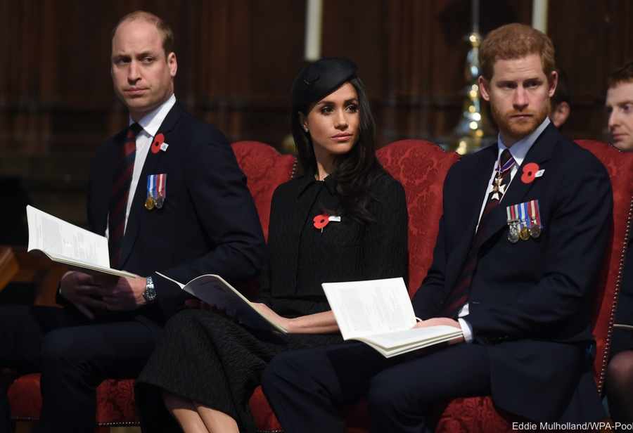 William, Meghan and Harry at the Westminster Abbey service for ANZAC day