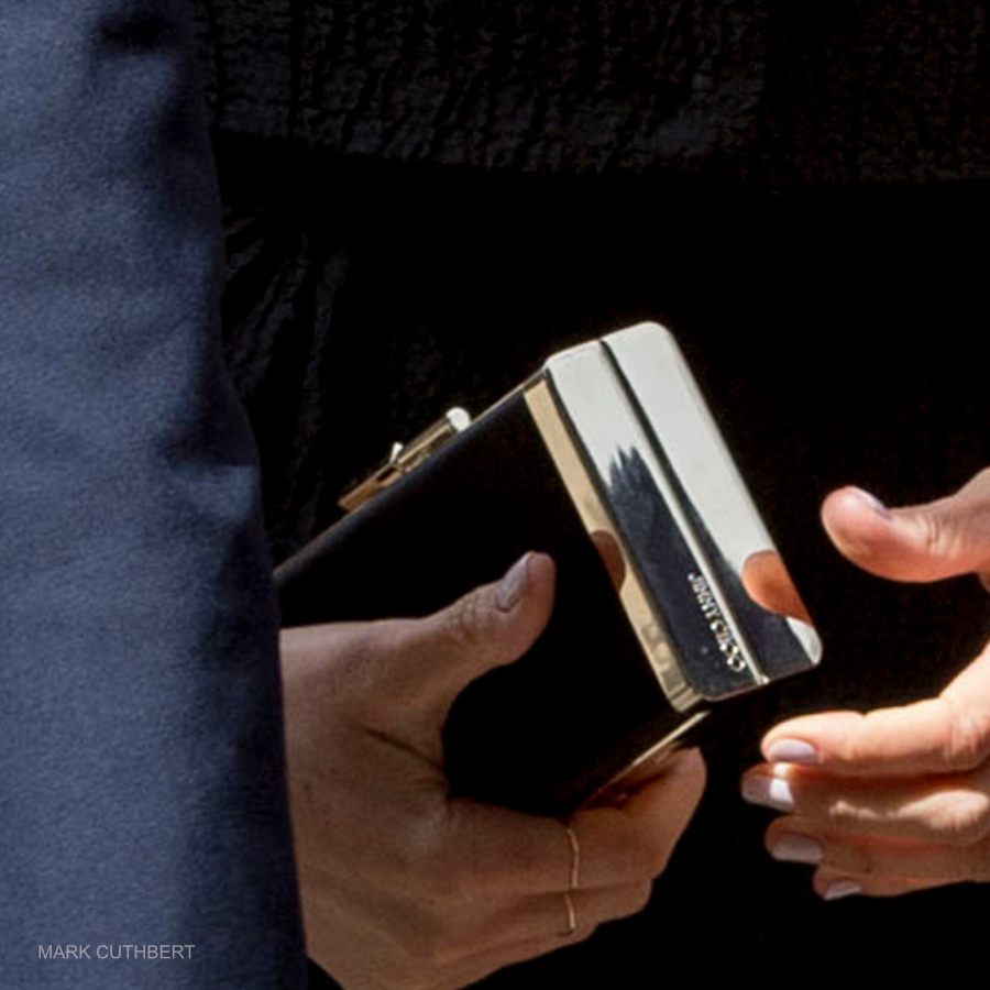 Meghan holding the black Jimmy Choo J Box Clutch bag