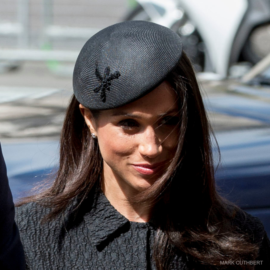 Meghan Markle wearing a Philip Treacy hat