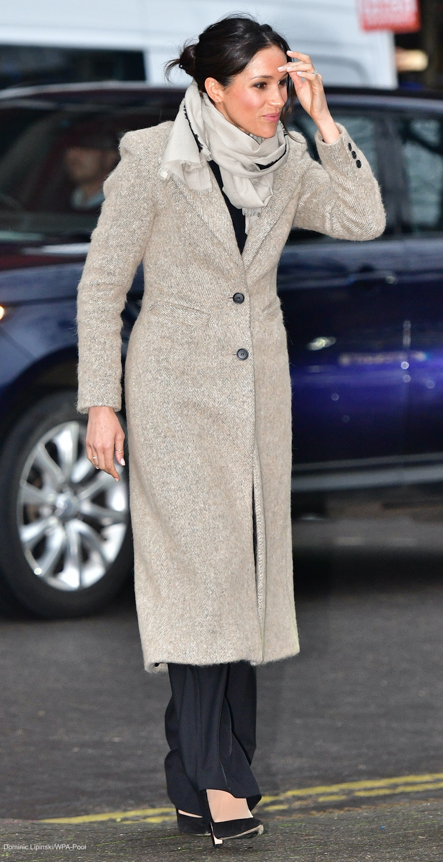 Meghan Markle wearing the Smythe Brando coat in Brixton