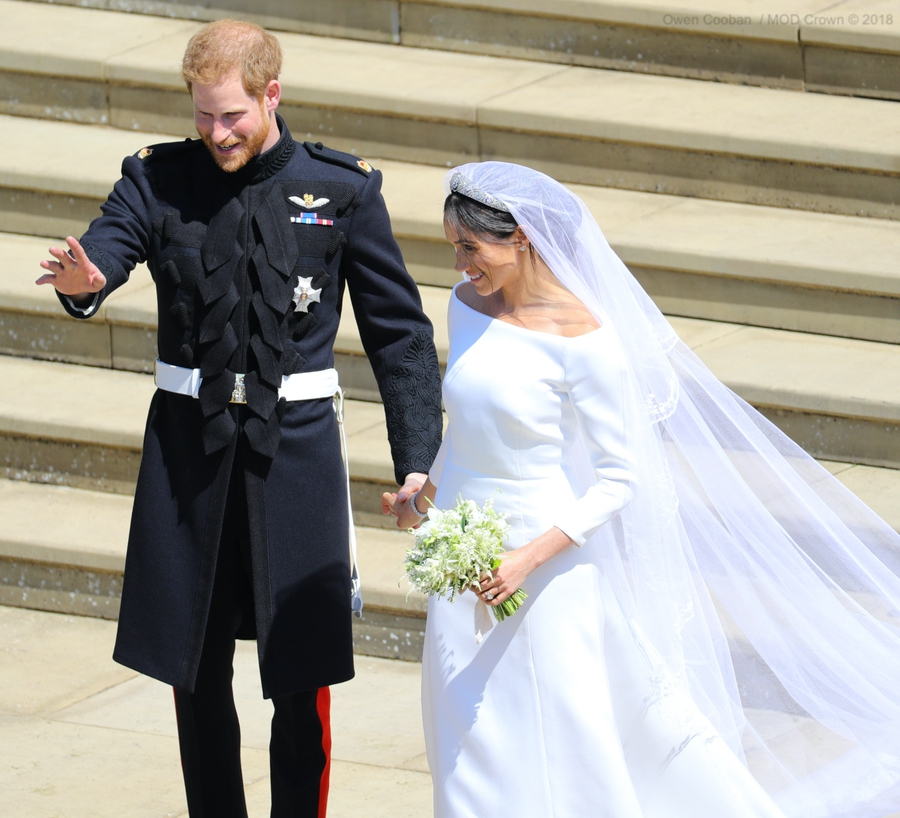 Meghan Markle and Prince Harry at their wedding at St. George's Chapel, Windsor in May 2018