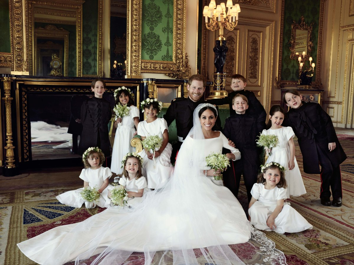 Meghan and Harry with their bridesmaids and page boys