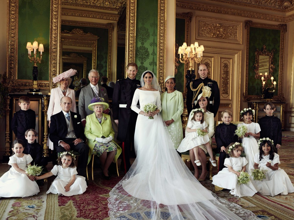The Royal Family, Meghan's mother, the bridesmaids and page boys at Meghan and Harry's wedding