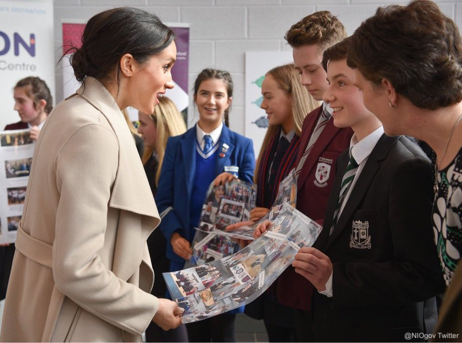 Meghan learning more about cross community and reconciliation work from young people across Northern Ireland.