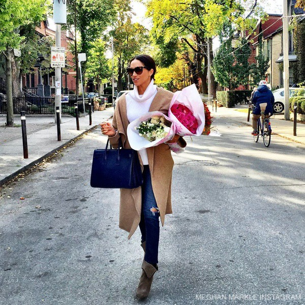 Meghan Markle carrying bunches of flowers - from Meghan's now-deleted Instagram