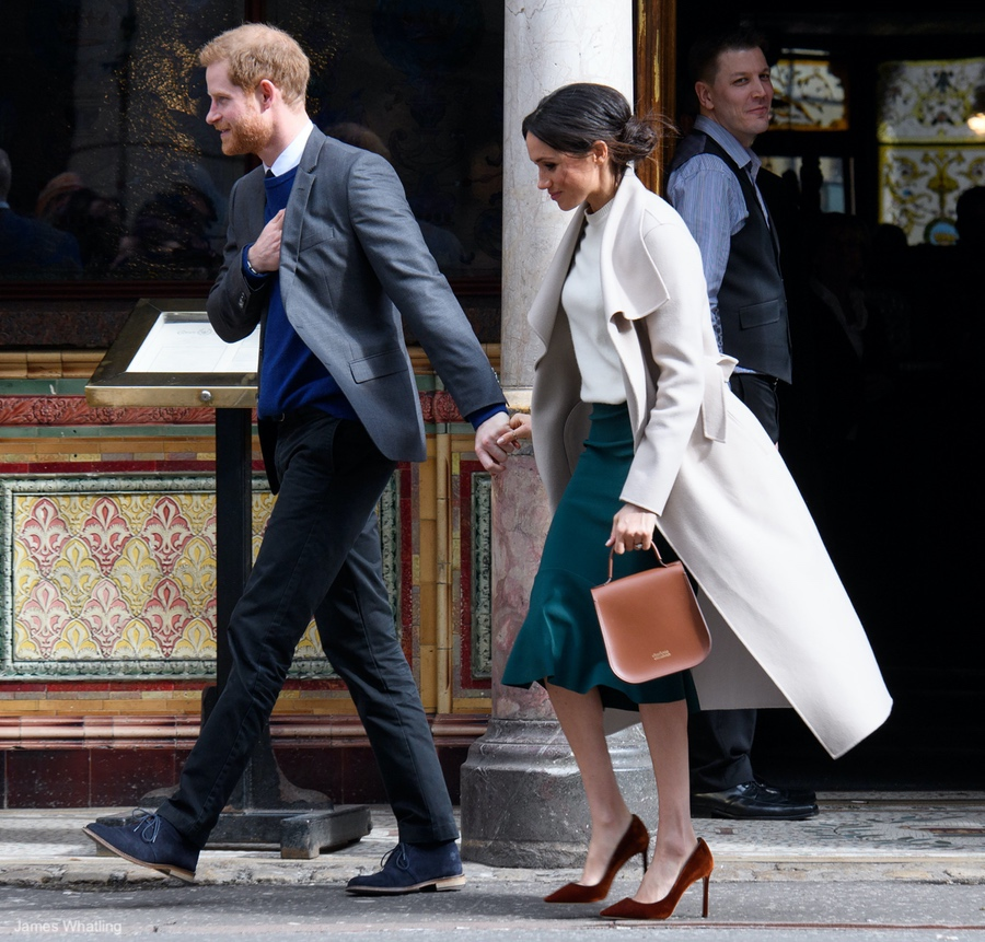 Meghan Markle wearing the MACKAGE MIA coat in Belfast, NI