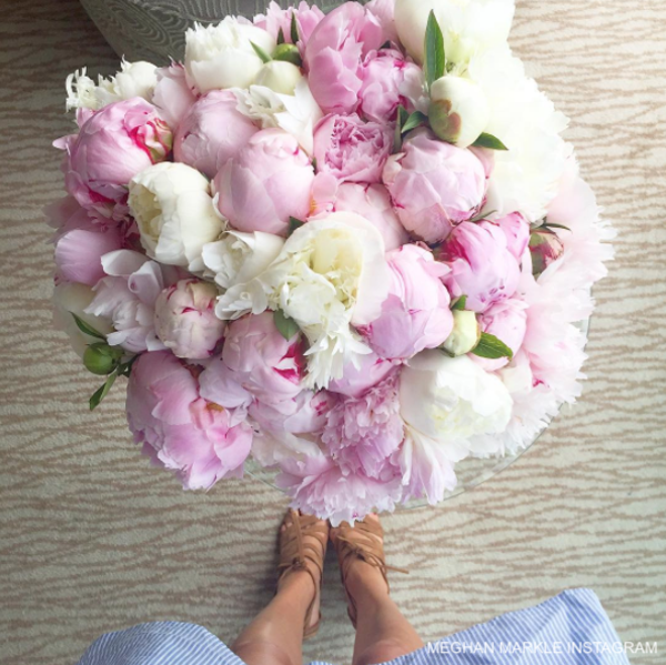 Meghan Markle holding a bunch of peonies, from her now-deleted Instagram