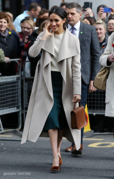 Meghan wearing the MACKAGE MAI coat